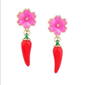 Jewelry - Pink Flower and Red Chili Pepper Stud Earrings
